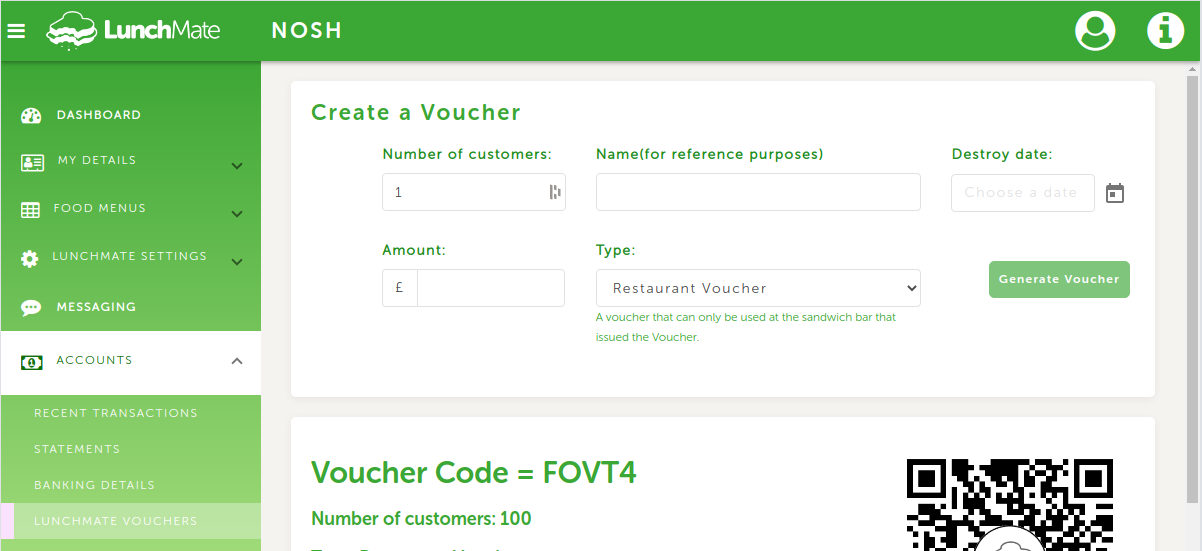 Create LunchMate Voucher