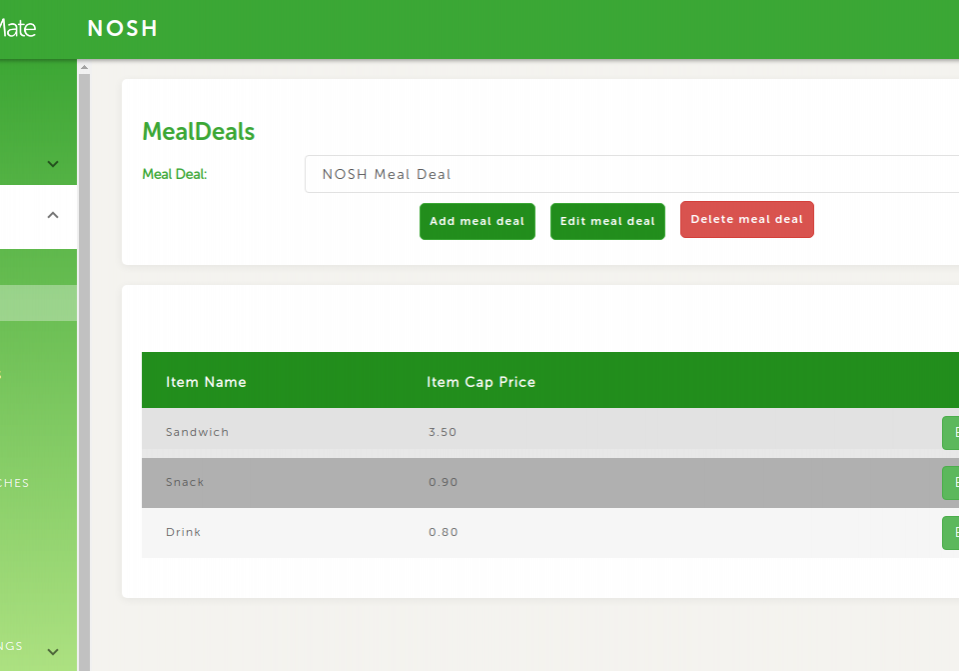 Control panel Meal Deal